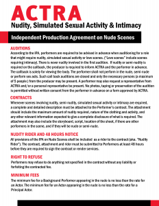 Safe Sets IPA Fact sheet on Nudity, Simulated Sexual Activity and Intimacy