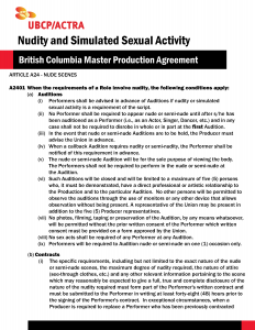Safe Sets BCMPA Fact sheet on Nudity and Simulated Sexual Activity